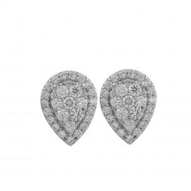 boucles d'oreilles forme poire diamants