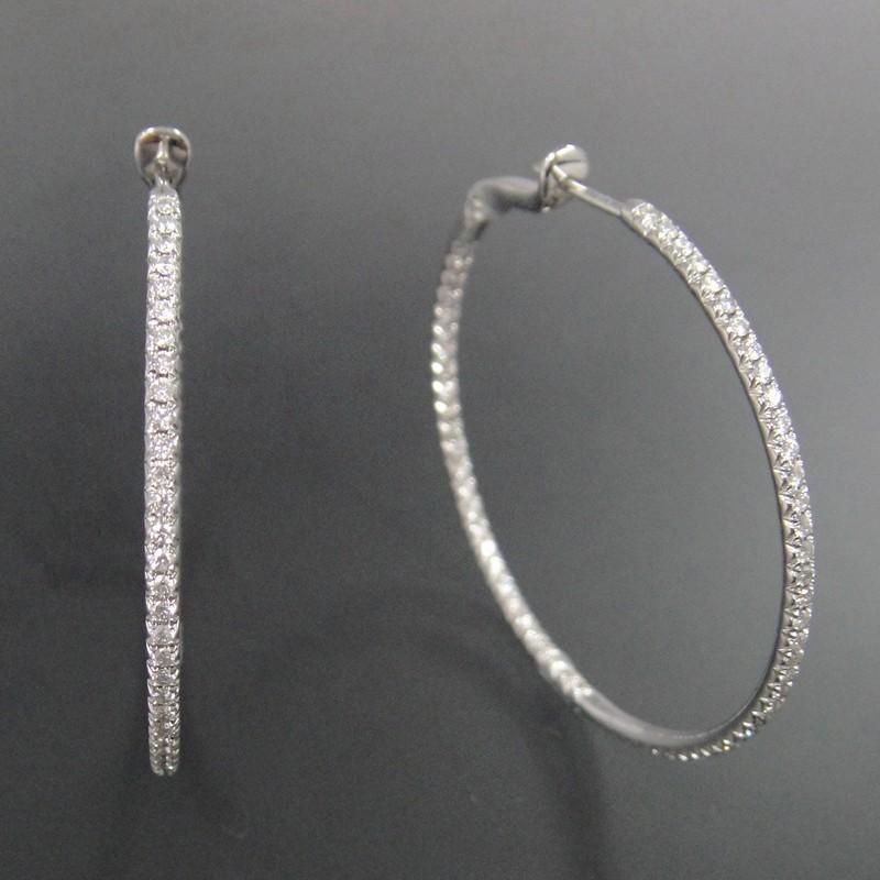 Créoles or blanc 750° °° diamants serti de diamants intérieur extérieur d2f44caf5d37