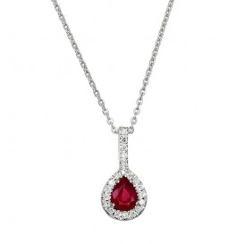 Collier Or Blanc 750°/°° Rubis et Diamants