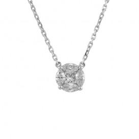 A2003640 Collier Or Blanc 750°/°° et Diamant Rond