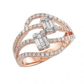 A4082040 Bague Or Rose 750°/°° et Diamants