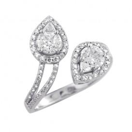 A4080640 Bague Toi & Moi Or Blanc 750°/°° et Diamants