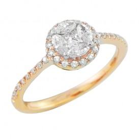 A4078040 Bague Or Jaune 750°/°° et Diamants