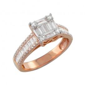 A4055640/4 Bague Or Rose 750°/°° et Diamants