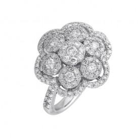 A4077640 Bague Fleur Or Blanc 750°/°° et Diamants