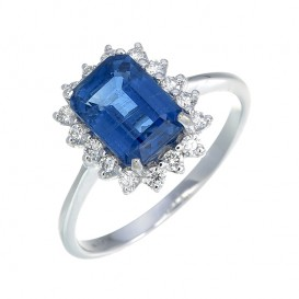 Bague Or Blanc 750°/°° Cyanite et Diamants